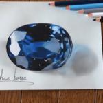 色鉛筆で描いた宝石…本物にしか見えないと話題に…
